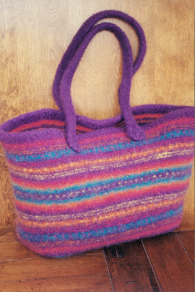 Knitting Pattern Felted Bag : Knitting Patterns for Felting - Fiber Trends Felt Bags, Hats + Slippers