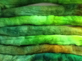 hand dyed corriedale wool for spinning and felting