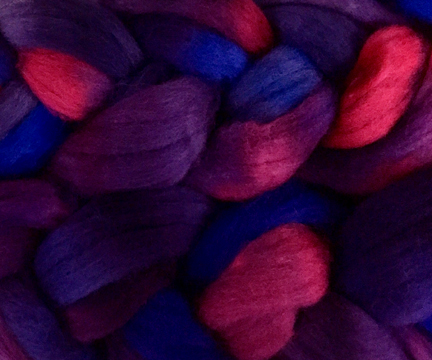 hand dyed corriedale fiber for spinning yarn or felting