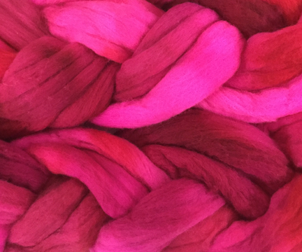 hand dyed wool fibers for spinning yarn or felting