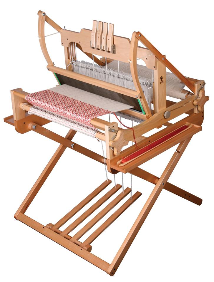 ashfor table loom and stand with overshot weaving