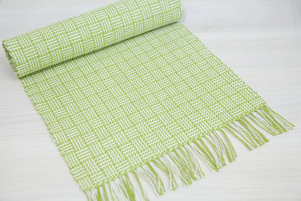 handwoven table runner in 3/2 cotton yarn